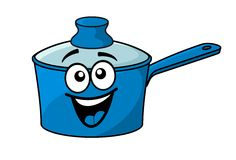 Laughing happy blue cartoon cooking saucepan Stock Photos