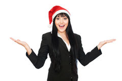 Laughing happy businesswoman in santa hat Stock Image