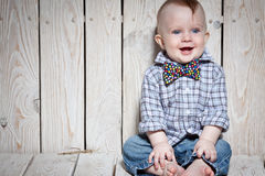Laughing  happy stylish kid Stock Images