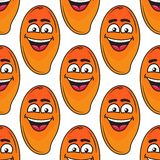Laughing happy tropical mango seamless pattern Royalty Free Stock Photo