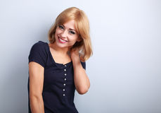 Laughing with healthy teeth beautiful blond woman with short hai Royalty Free Stock Images