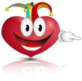 The laughing heart.Heart Joker on April fool`s day. stock illustration