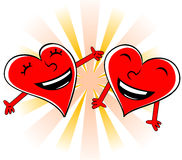Laughing hearts. Enamoured hearts Royalty Free Stock Photography