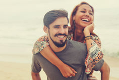 Laughing hippie love couple in vintage summer style Stock Image