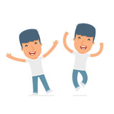Laughing and Joyful Character Activist celebrates and jumps. For use in presentations, etc Stock Photo
