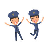 Laughing and Joyful Character Constabulary celebrates and jumps Royalty Free Stock Image