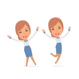 Laughing and Joyful Character Consultant Girl celebrates and jumps Royalty Free Stock Photos
