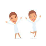 Laughing and Joyful Character Nurse celebrates and jumps Royalty Free Stock Photo