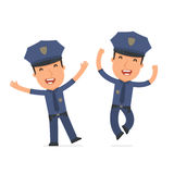 Laughing and Joyful Character Officer celebrates and jumps Stock Photo