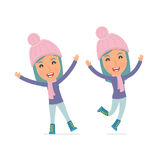 Laughing and Joyful Character Winter Girl celebrates and jumps Stock Photos
