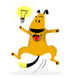 Laughing jumping dog. Idea lamp. Good mood and emotion. Stock Photography