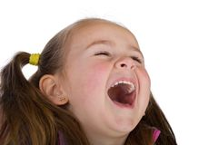 Laughing kid. Daydreaming kid isolated on white Royalty Free Stock Images