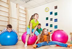 Laughing kids. In a gym Stock Photography