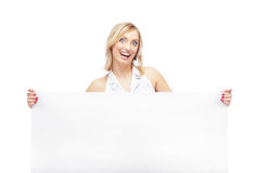 Laughing lady with blank board Stock Photo