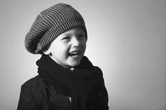 Laughing Little Boy in Cap. Royalty Free Stock Photos