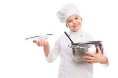 Laughing little boy-cook with pan in hands. Laughing little boy-cook with pan and lid in hands isolated on white background Stock Image