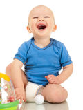 Laughing little boy in diaper Stock Photos