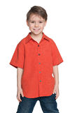 Laughing little boy in a red shirt Stock Image