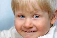 Laughing little child. Portrait of laughing little child stock images