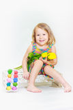 Laughing little girl in Eastertide Stock Photography
