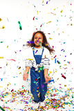 Laughing Little Girl Jumping Royalty Free Stock Photo