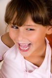 Laughing Little Girl Looking Side Stock Photos