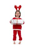 Laughing little girl in santa costume Royalty Free Stock Photography
