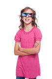 Laughing little girl in stereo glasses Royalty Free Stock Image