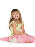 Laughing little on the white background Royalty Free Stock Image