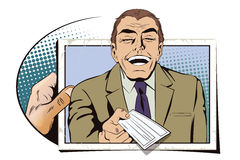 Laughing man with bank check. Royalty Free Stock Photo