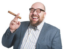 Laughing man with a cigar. Royalty Free Stock Images
