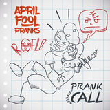 Laughing Man doing a Prank Call in April Fools' Day, Vector Illustration. Funny  man laughing in the roof while he does a prank call to a friend in April Fools' Stock Images