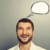 Laughing man with empty speech bubble Royalty Free Stock Images