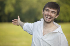 Laughing man in field Royalty Free Stock Images