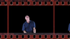 Laughing man in film stock footage