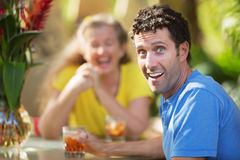 Laughing Man with Friend Royalty Free Stock Image