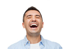 Laughing man. Happiness, emotions and people concept - laughing man stock images