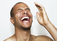 Laughing Man. Mixed race male laughing hysterically Royalty Free Stock Photos