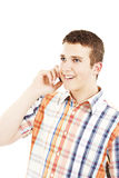 Laughing Man on Phone. All on white background Stock Photo
