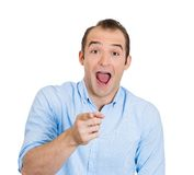 Laughing man pointing Royalty Free Stock Photography