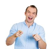 Laughing man pointing Royalty Free Stock Photo
