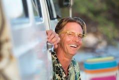 Laughing Man Sitting In Van Royalty Free Stock Photography