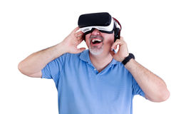 Laughing man with virtual reality glasses Royalty Free Stock Images