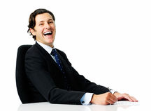 Laughing man at work Royalty Free Stock Images