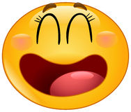 Laughing manga emoticon Stock Photo