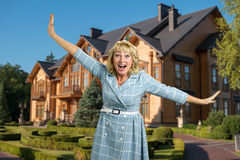 Laughing mature woman outdoor. Royalty Free Stock Photo