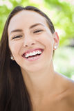 Laughing Mixed Race Girl Portrait Stock Photo