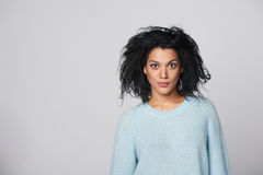 Laughing mixed race winter woman Royalty Free Stock Photography