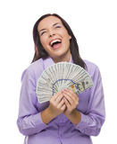 Laughing Mixed Race Woman Holding the New One Hundred Dollar Bills Stock Photos