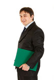 Laughing modern businessman holding folder in hand Royalty Free Stock Image